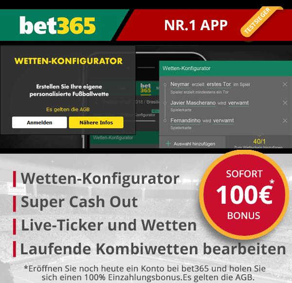 Sportwetten App Testsieger bet365