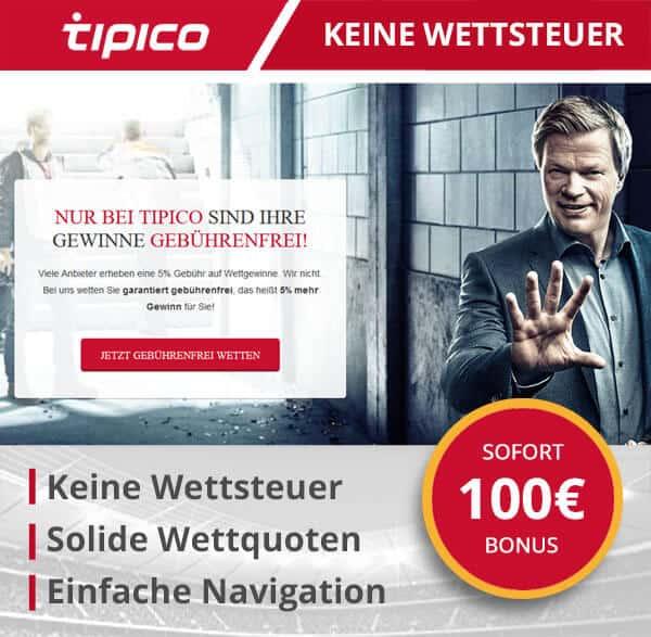 Tipico berechnet keine Wettsteuer
