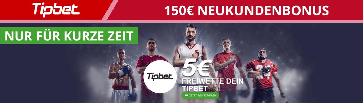 Tipbet 150 Euro Neukundenbonus