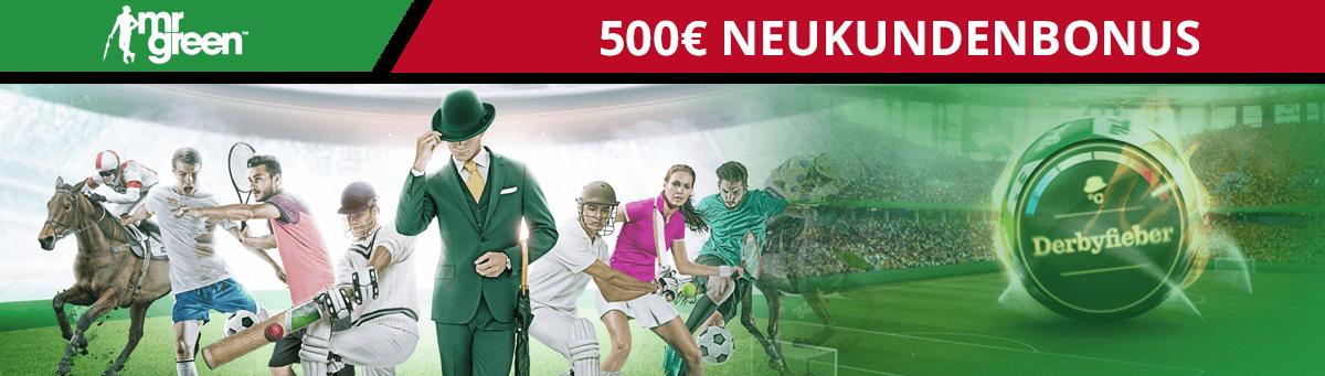 MrGreen 500 Euro Neukundenbonus
