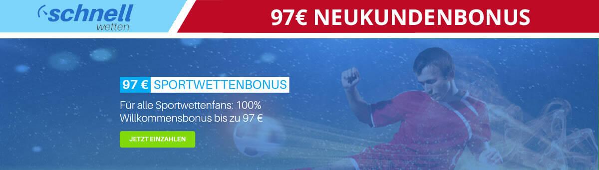 SchnellWetten 97 Euro Neukundenbonus