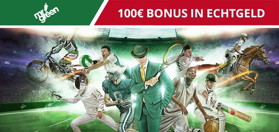 Mr Green Wettbonus von 100€ in Echtgeld