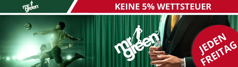 Mr Green ohne Wettsteuer am Freitag