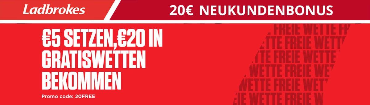 Ladbrokes Neukundenbonus 20 Euro