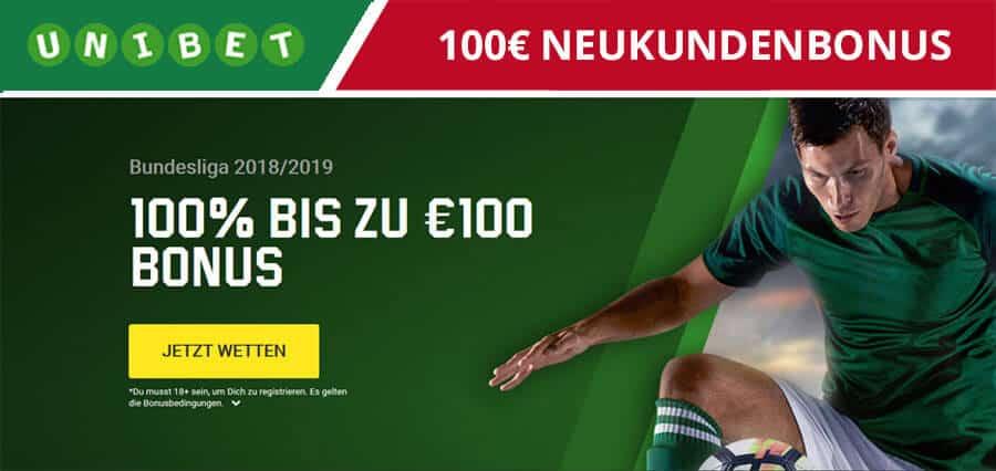 Unibet 100€ Wettbonus
