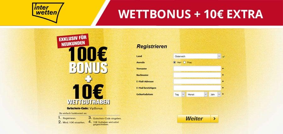 Interwetten 100 Euro Bonus und 10 Euro extra