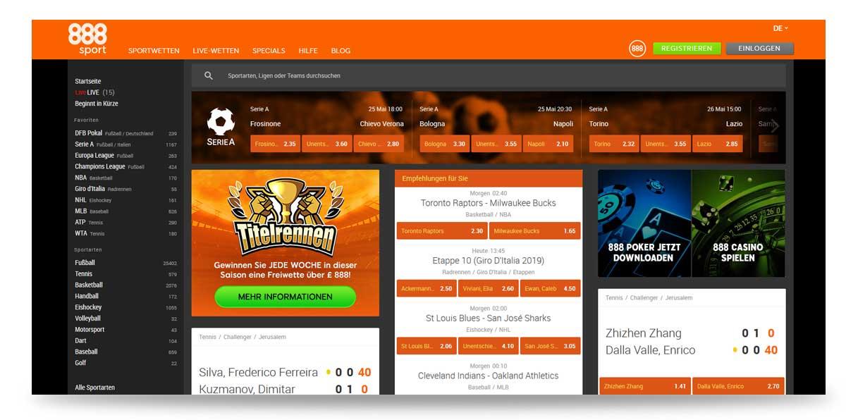 Startseite von 888sport