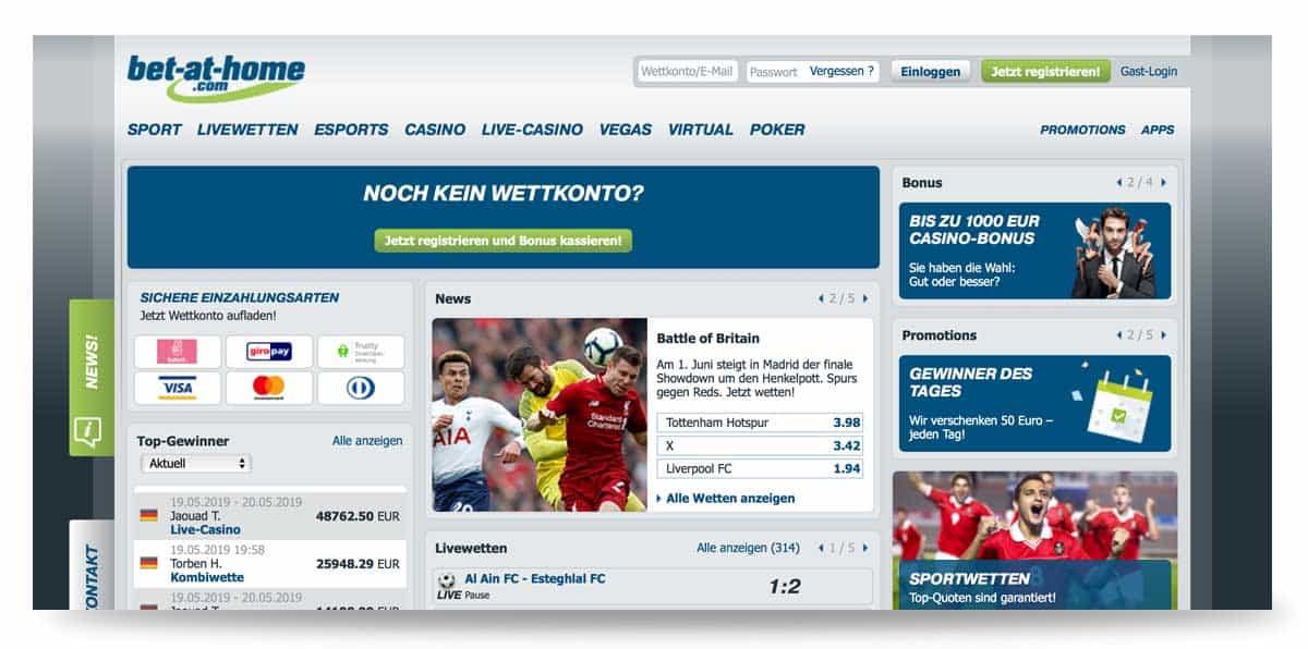 Startseite von bet-at-home