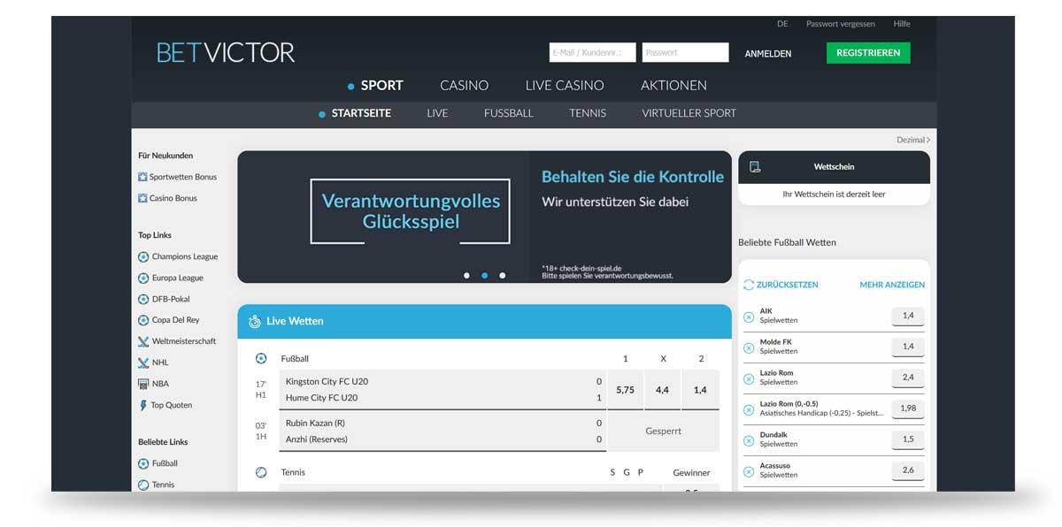 Startseite von BetVictor