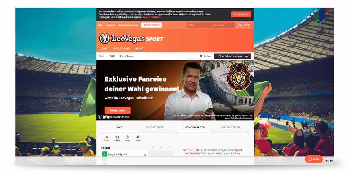 Startseite von LeoVegas
