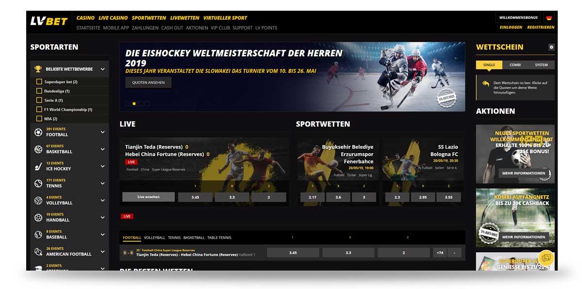 Startseite von LVbet