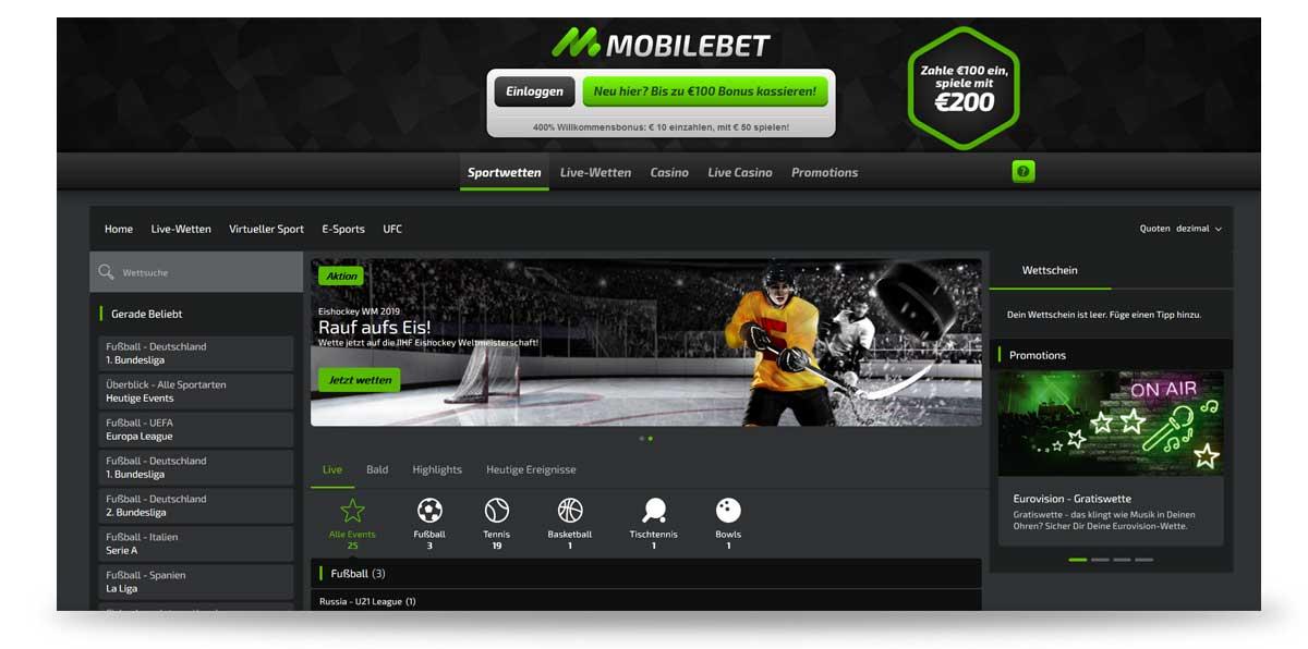 Startseite von mobilebet