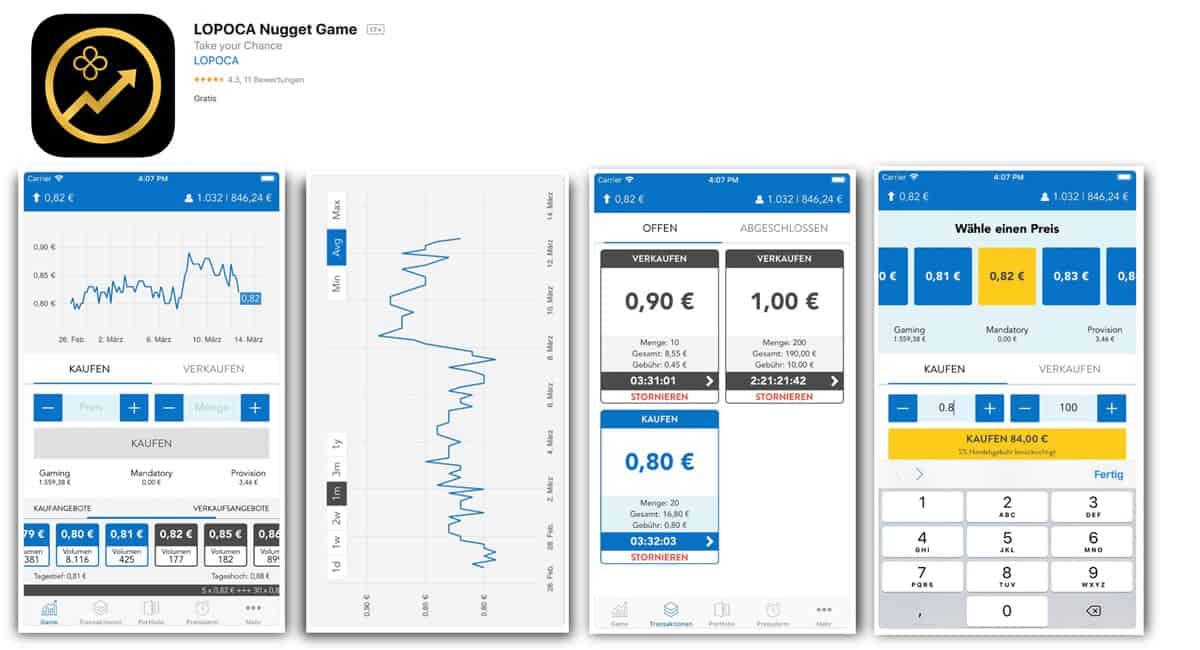 App für das Lopoca Nugget Game