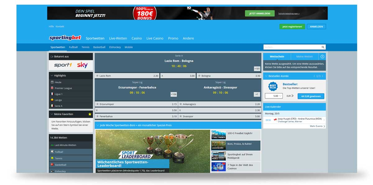 Startseite von Sportingbet