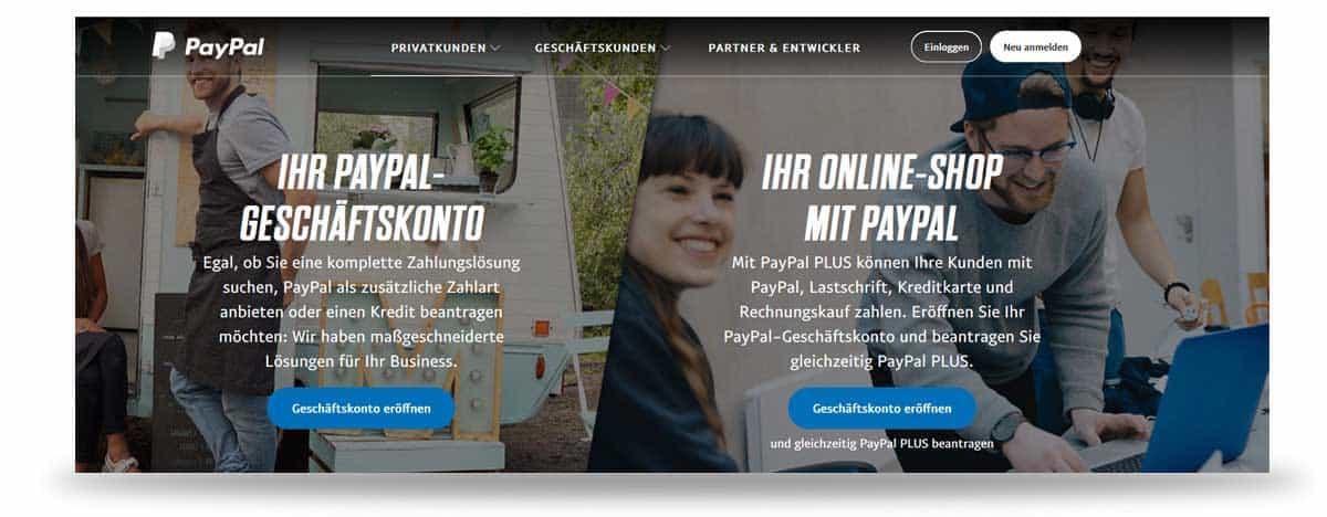 Startseite von Paypal