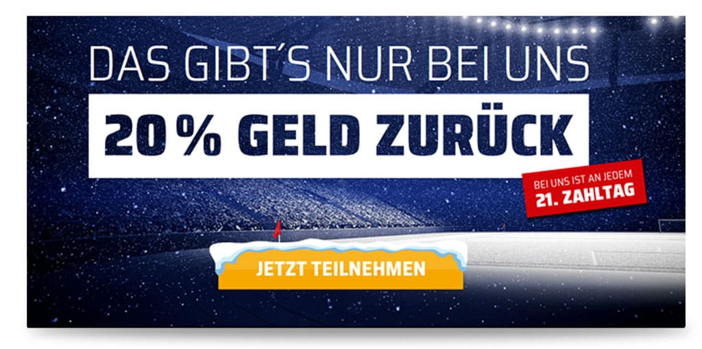 20% Cahsback Aktion bei bet3000