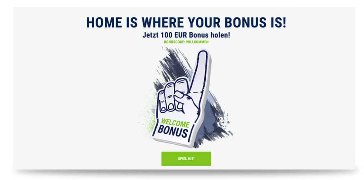100€ bet at home Bonus