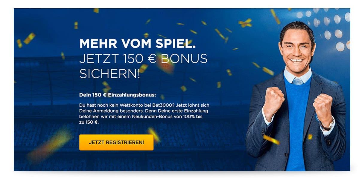 bet3000 150 Euro Bonus