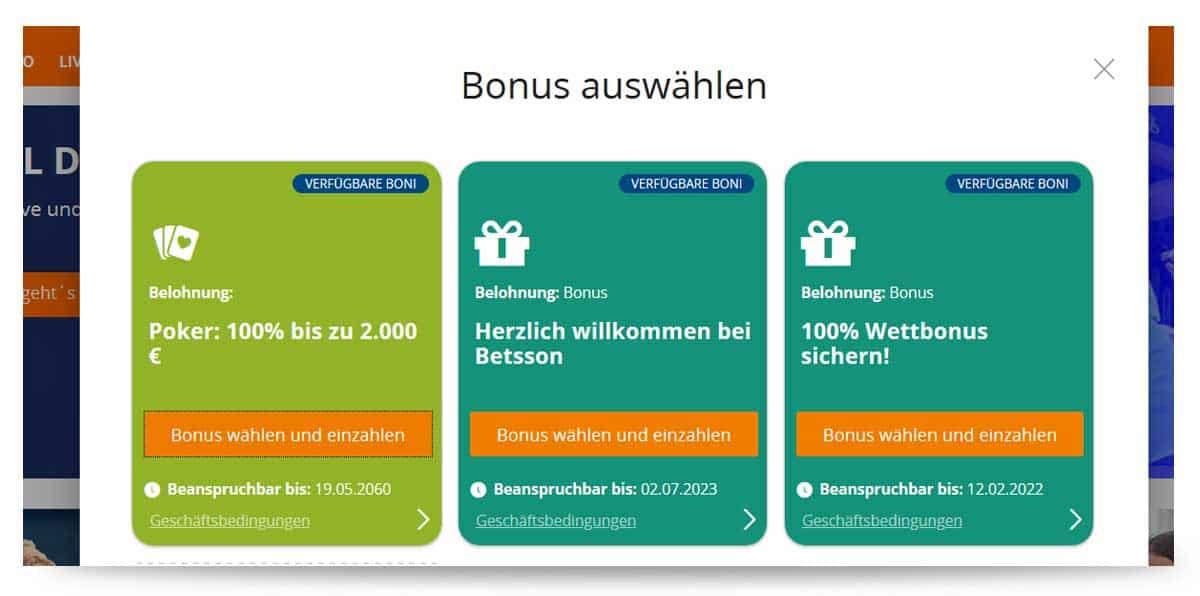 betsson Einzahlung Bonus