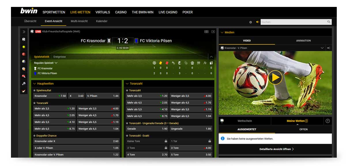 Bwin Livecenter - Wetten und Streams