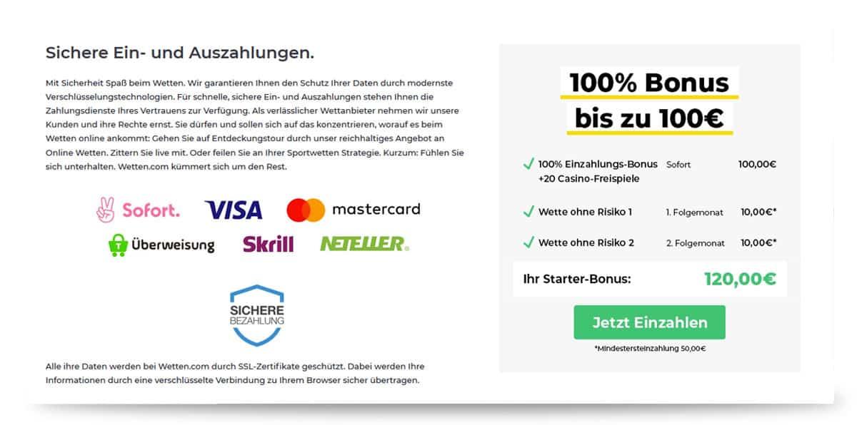 Einzahlung bei wetten.com