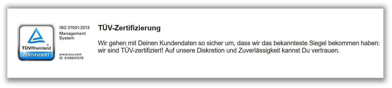 TÜV Zertifikat für bet3000