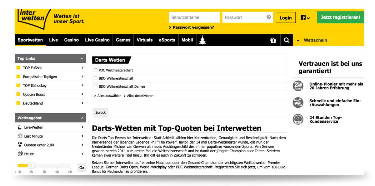 Darts bei Interwetten