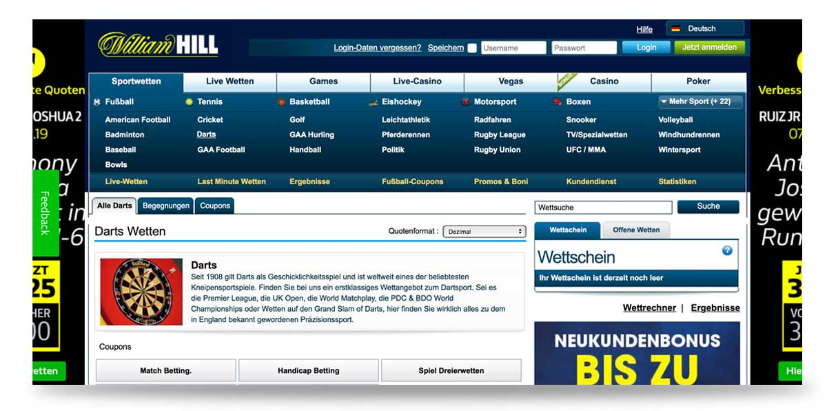 Darts bei William Hill