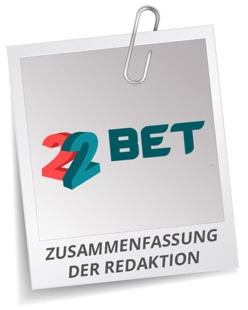 22bet Bonus Test Siegel mit Logo