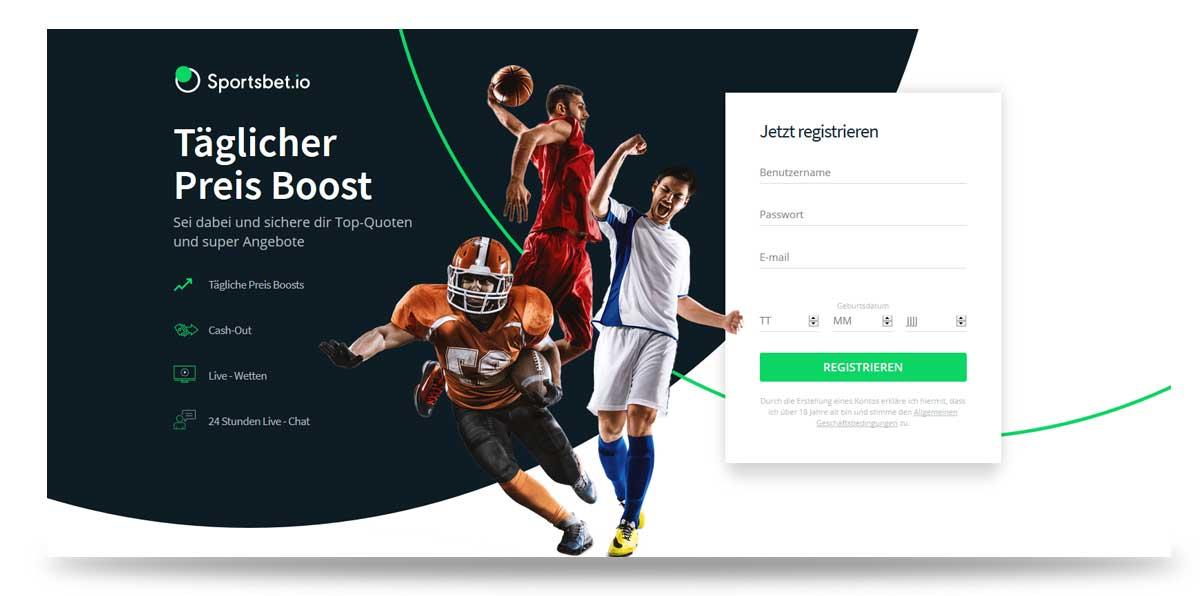 Startseite von sportsbet.io