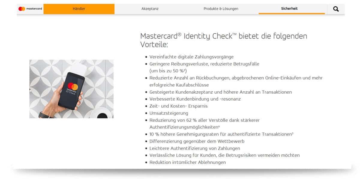 Kreditkarten Sicherheit - Mastercard Identity Check