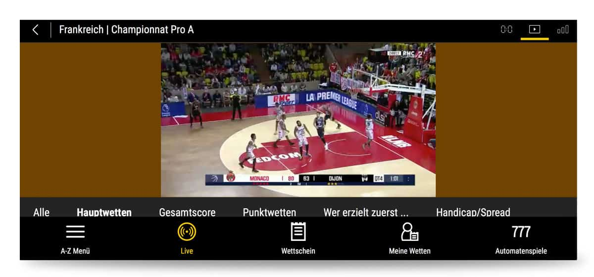 Basketballspiele im Livestream