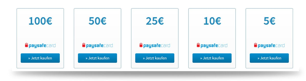 Paysafecards 5 bis 100 Euro