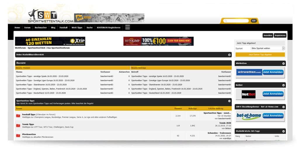 Startseite von sportwettentalk.com