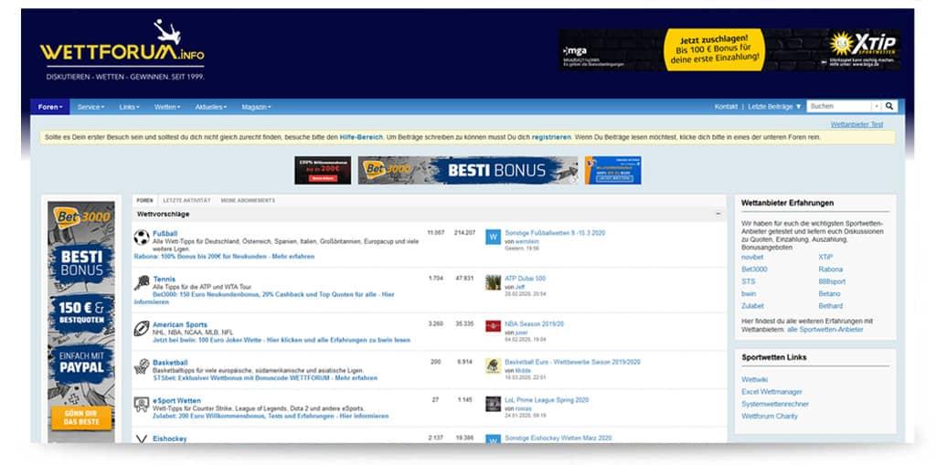 Startseite von wettforum.info