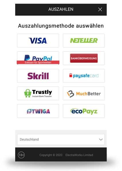 Auszahlung mit der Bwin App