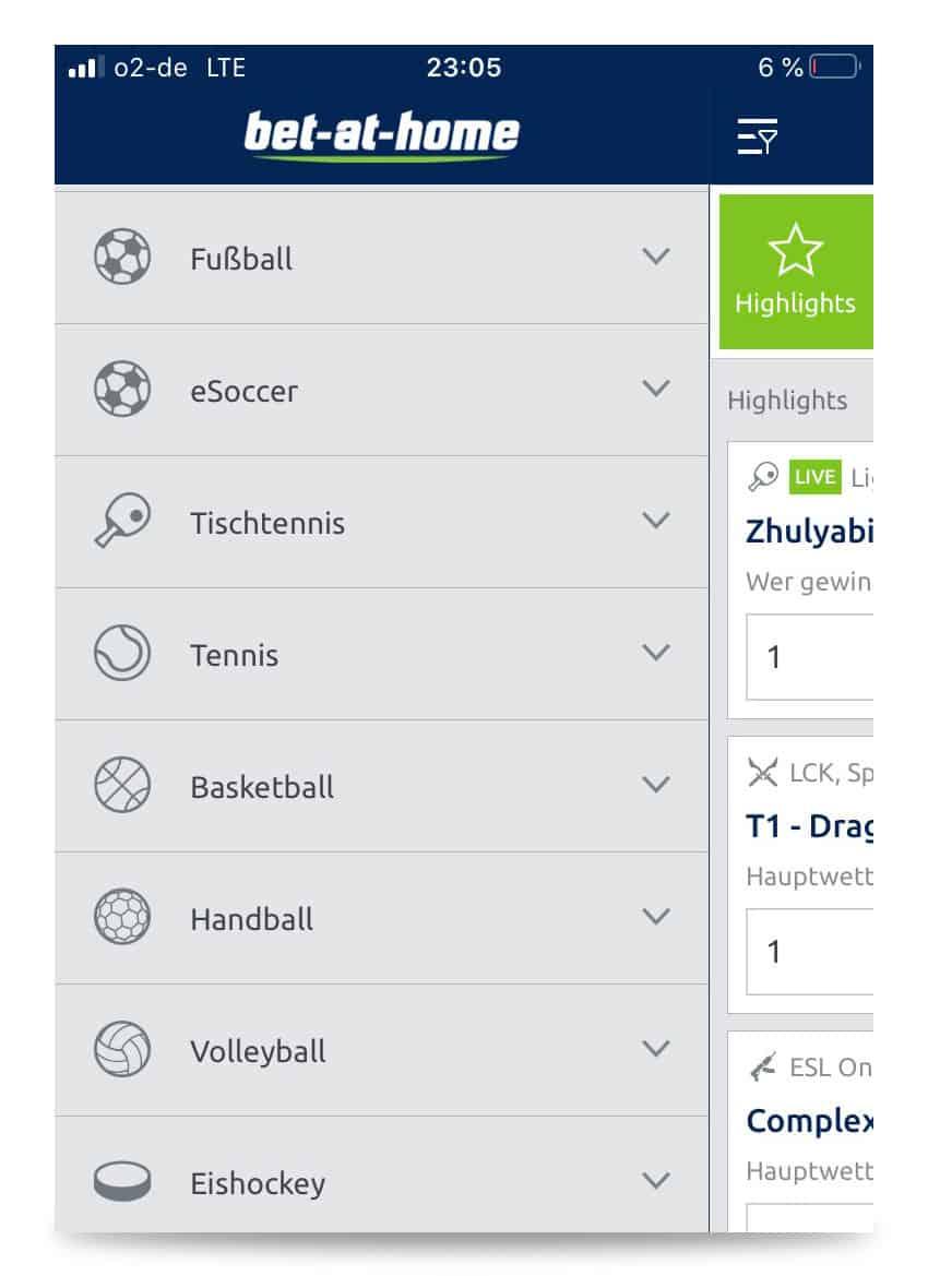 Auswahl der Sportarten in der bet-at-home App