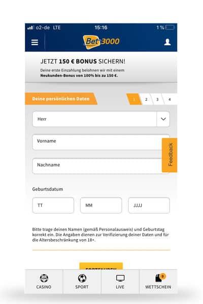 Registrierung mit der bet3000 App