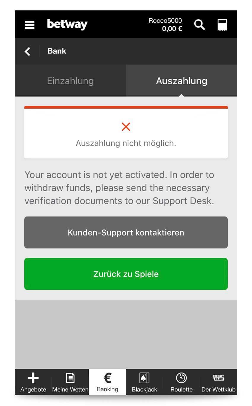 Zertifizierung per Betway App