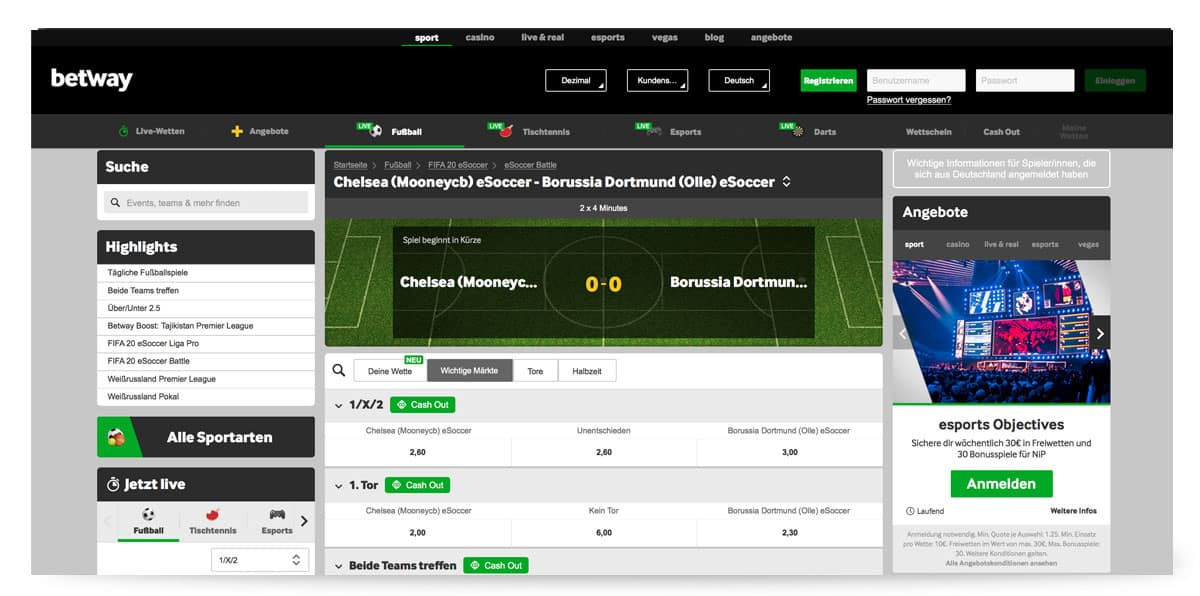 Betway Live Wetten Center