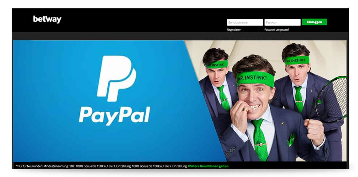 Paypal Zahlung bei Betway