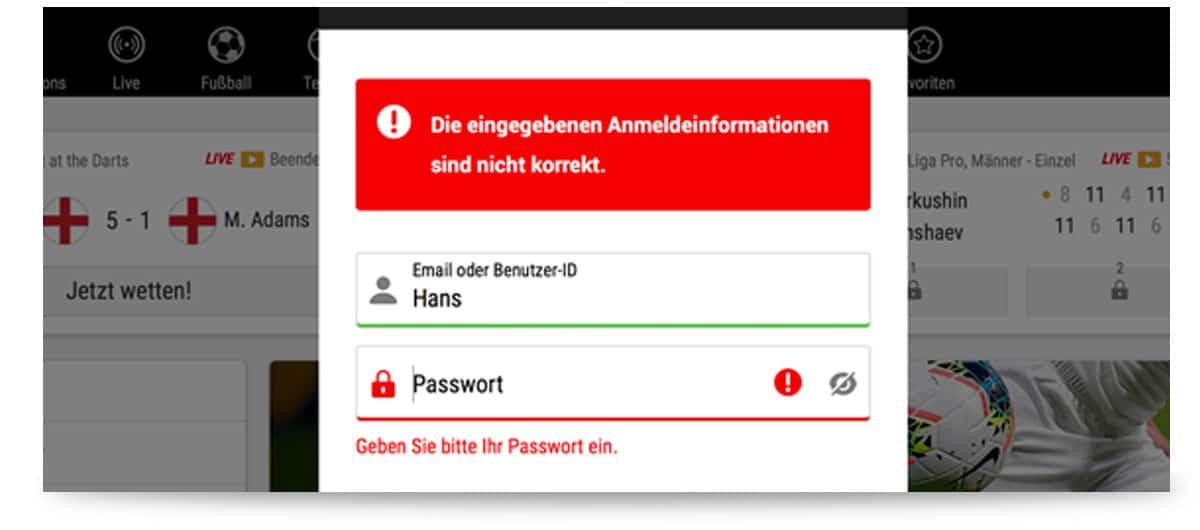 bwin login Fehlermeldung
