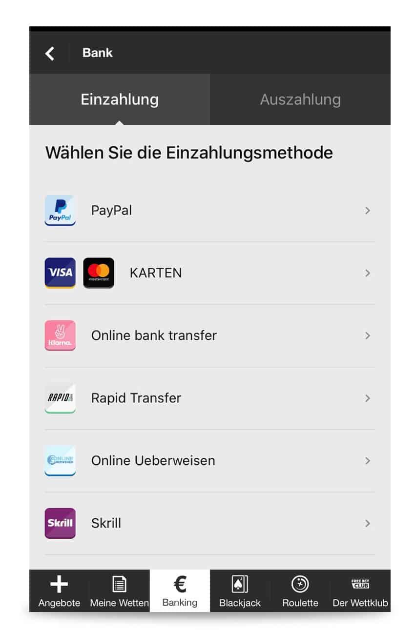 Zahlungsmöglichkeiten in der betway App