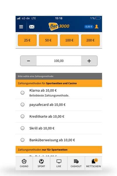 Einzahlung mit der bet3000 App