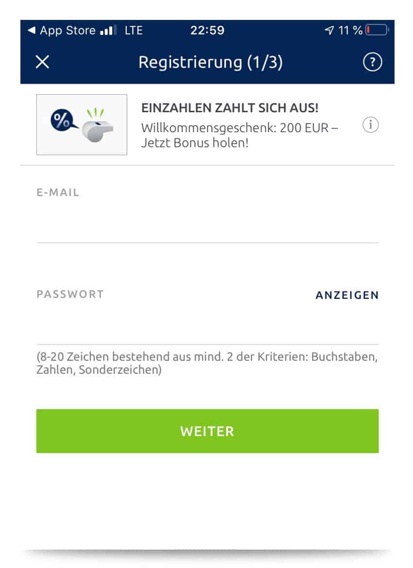 Registrierung auf der App von bet-at-home