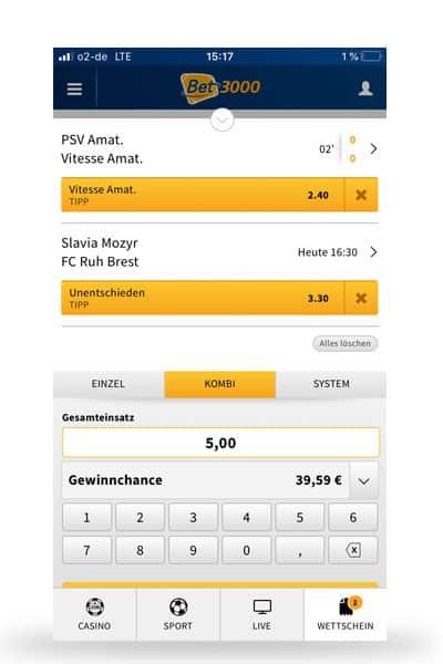 Wettschein in der mobile Version von bet3000