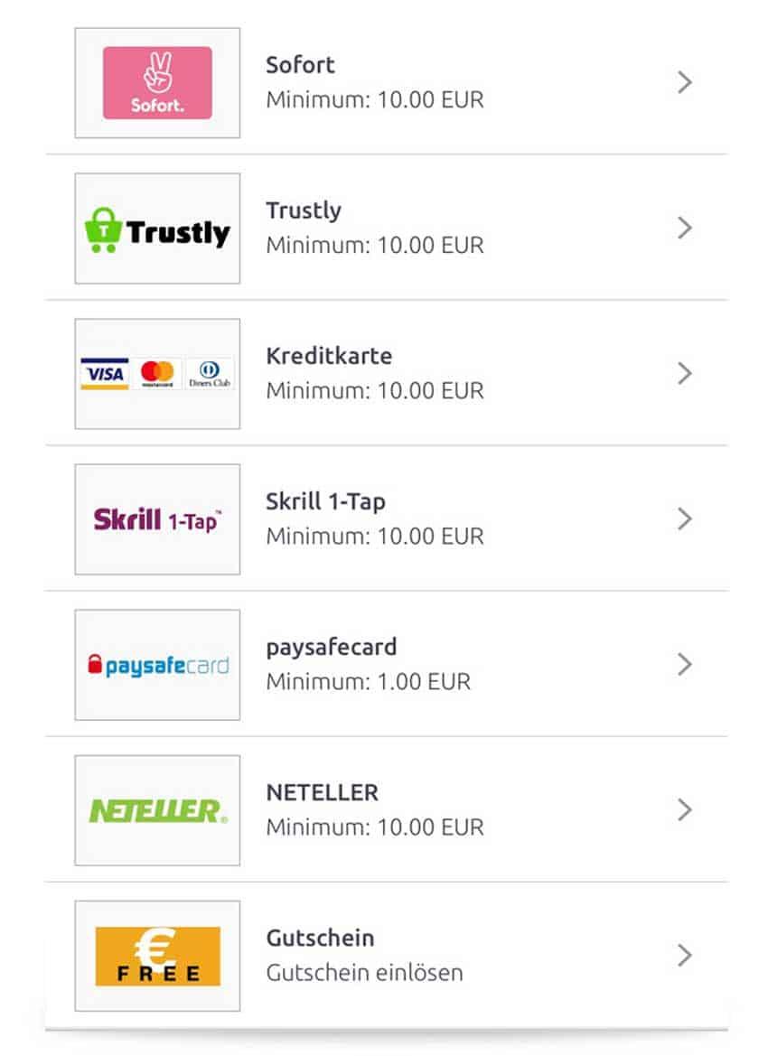 Zahlungsmöglichkeiten über die bet-at-home App