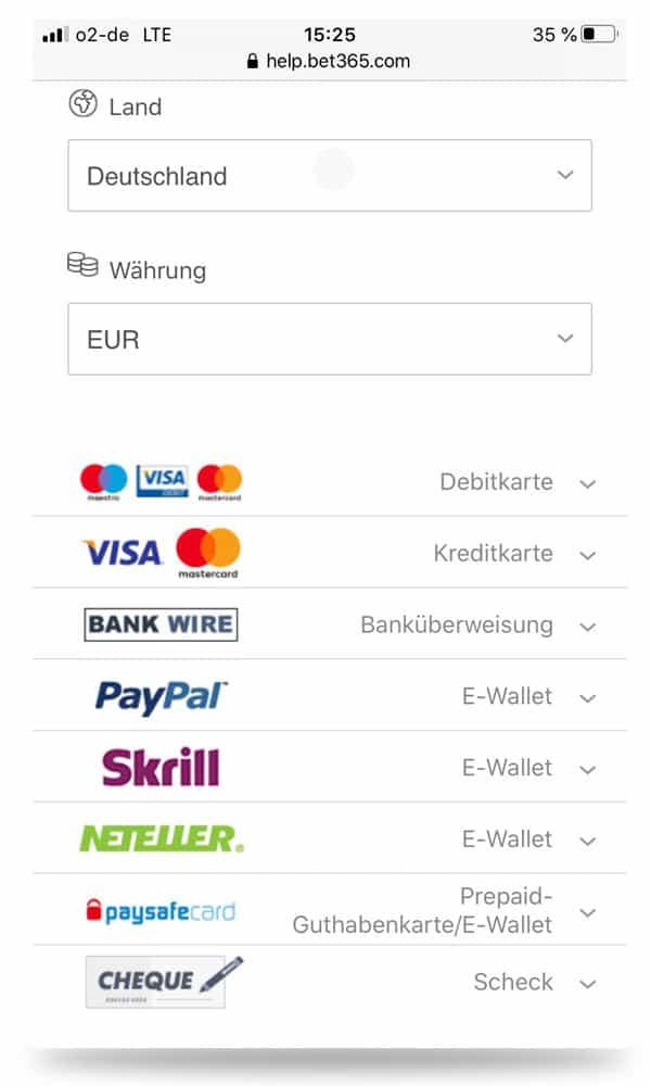 Über die App von bet365 stehen identische Zahlungsmöglichkeiten zur Verfügung