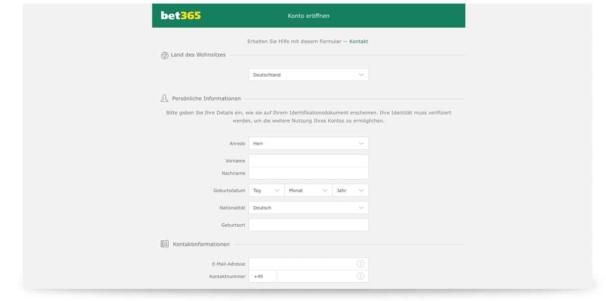 Anmeldung bei bet365