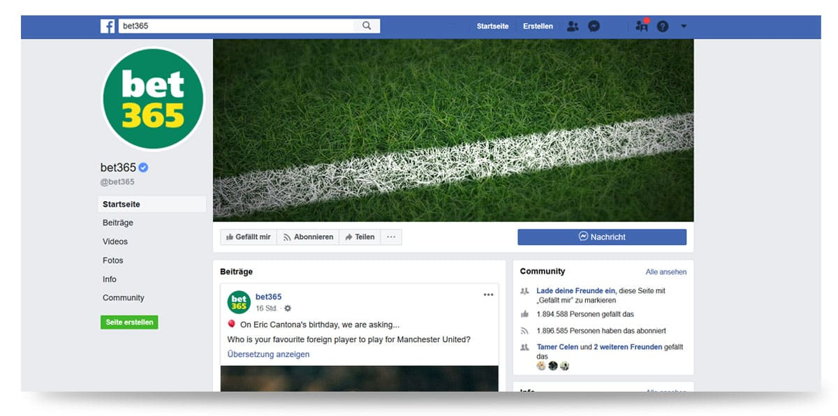 bet365 Facebookseite